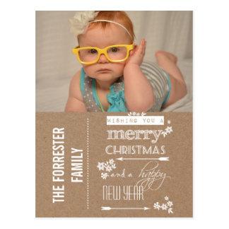 Rustic Kraft Paper Christmas & New Year Photo Post Card