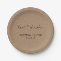 Rustic Kraft Paper Country Wedding Love & Thanks Paper Plate