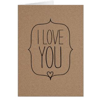 Rustic Kraft Paper Cute Heart Valentines Day Card