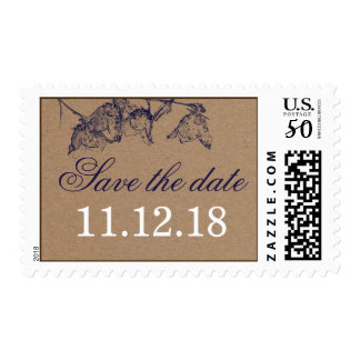 Rustic Kraft Paper Floral Save The Date Postage