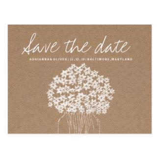 Rustic Kraft Paper Flowers Mason Jar Save The Date Postcard