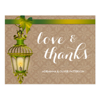 Rustic Kraft Paper Green Lantern Love & Thanks Postcards