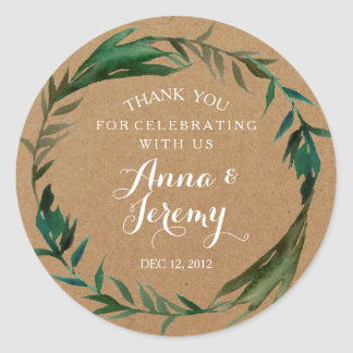 Rustic Kraft Paper Green Wreath Wedding Sticker