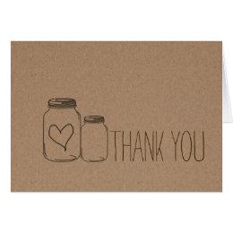 Rustic Kraft Paper Heart Mason Jars Thank You Card