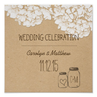 Rustic Kraft Paper Hydrangeas Floral Wedding Poster