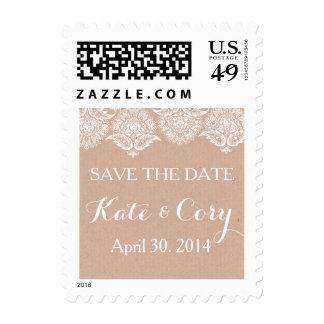 Rustic Kraft Paper & Lace Wedding Postage Stamp