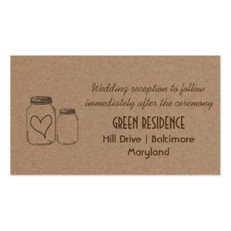 Rustic Kraft Paper Mason Jar Heart Wedding Insert Double-Sided Standard Business Cards (Pack Of 100)