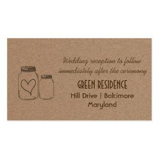 Rustic Kraft Paper Mason Jar Heart Wedding Insert Double-Sided Standard Business Cards (Pack Of 100)