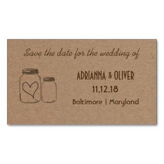 Rustic Kraft Paper Mason Jar Heart Wedding Insert Magnetic Business Cards (Pack Of 25)