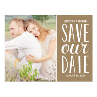 Rustic Kraft Paper | Photo Save the Date Postcard