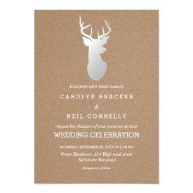 Rustic Kraft Paper Silver Antler Wedding Card