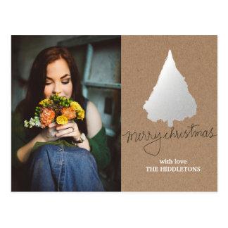 Rustic Kraft Paper Silver Christmas Tree Photo Postcard