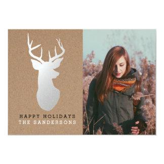 Rustic Kraft Paper Silver Reindeer Holiday Photo Card