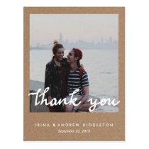 Rustic Kraft Paper Thank You Handwritten Photo Postcard