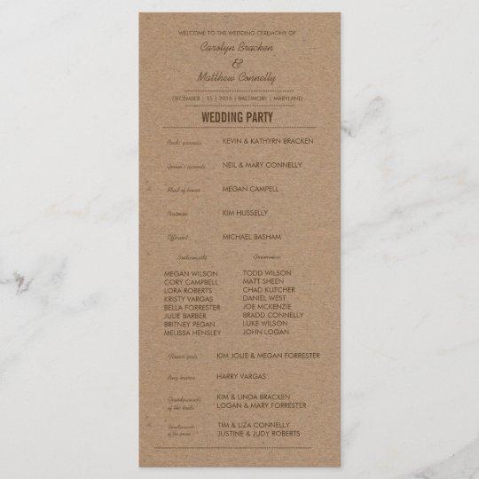 Rustic Kraft Paper Wedding Program