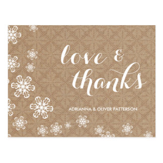 Rustic Kraft Paper White Snowflakes Love & Thanks Post Cards