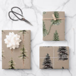 """Rustic Kraft Paper Winter Woodland SpruceTrees<br><div class=""""desc"""">Kraft Christmas wrapping paper for the holidays. Give your gifts a rustic kraft look that features winter themes like forest woodlands,  winter animals,  birds,  spruce trees,  holly,  berries and winter foliage,  all painted in beautiful watercolors.</div>"""