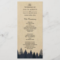 Rustic Kraft Pine Tree Forest Wedding Program