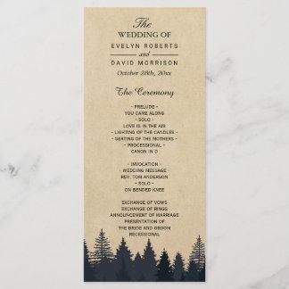 Rustic Kraft Pine Tree Forest Wedding Program