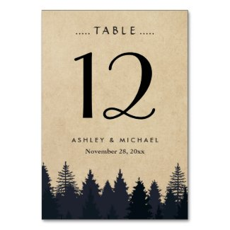 Rustic Kraft Pine Tree Forest Wedding Table Number