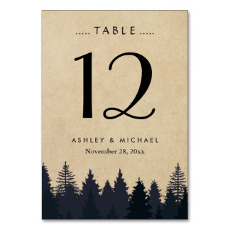 Rustic Kraft Pine Tree Forest Wedding Table Number Card