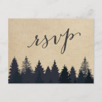 Rustic Kraft Pine Trees Forest RSVP Response Invitation Postcard