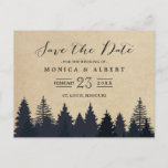 """Rustic Kraft Pine Trees Forest Save the Date Announcement Postcard<br><div class=""""desc"""">==== This Version is NOT for the USPS ==== (1) If you are planning send out via USPS(U.S. Postal Service), please go to our NEW version: https://www.zazzle.com/239659305085914025 (2) For further customization, please click the &quot;Customize&quot; button and use our design tool to modify this template. (3) If you need help or...</div>"""