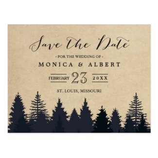 Rustic Kraft Pine Trees Forest Save the Date Postcard