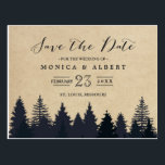 "Rustic Kraft Pine Trees Forest Save the Date Postcard<br><div class=""desc"">==== This Version is NOT for the USPS ==== (1) If you are planning send out via USPS(U.S. Postal Service), please go to our NEW version: https://www.zazzle.com/239659305085914025 (2) For further customization, please click the &quot;Customize&quot; button and use our design tool to modify this template. (3) If you need help or...</div>"