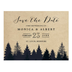 Rustic Kraft Pine Trees Forest Save The Date Postcard at Zazzle