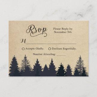 Rustic Kraft Pine Trees Winter Wedding RSVP