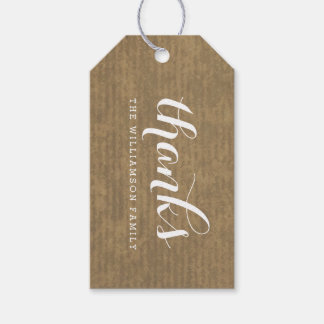 Rustic Kraft Print - Thanks Thanksgiving Family Pack Of Gift Tags