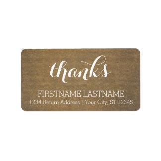 Rustic Kraft Print - Thanks Thanksgiving Family Personalized Address Label