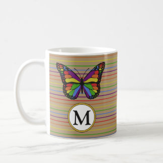 Rustic Kraft Rainbow Butterfly Pinstripe Monogram Coffee Mug