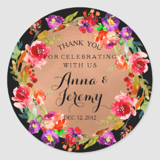 Rustic Kraft Rose Gold Floral Wedding Sticker