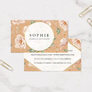 Rustic Kraft & Roses | Elegant Gold Floral Modern Business Card