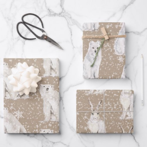 Rustic Kraft Snowy Winter Arctic Animals Wrapping Paper Sheets