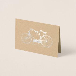 Rustic Kraft Tandem Bicycle   Silver Foil Card