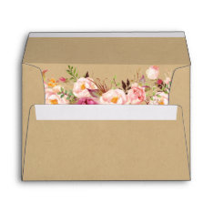 Rustic Kraft Vintage Pink Floral 5x7 Wedding Envelope at Zazzle