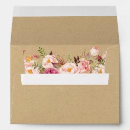 Rustic Kraft Vintage Pink Floral 5x7 Wedding Envelope