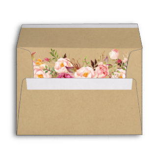 Rustic Kraft Vintage Pink Floral 5x7 Wedding Envelope