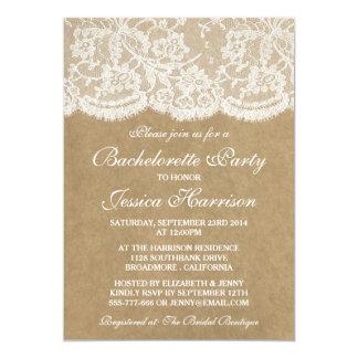 Rustic Kraft Vintage White Lace Bachelorette Party 5x7 Paper Invitation Card