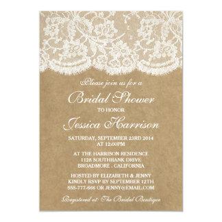 "Rustic Kraft & Vintage White Lace Bridal Shower 5"" X 7"" Invitation Card"
