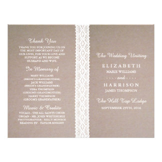 Rustic Kraft & Vintage White Lace Wedding Program