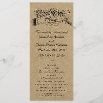 Rustic Kraft Wedding Ceremony Program Templates