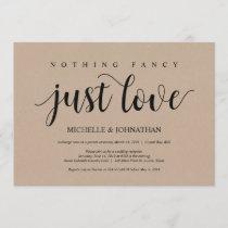 Rustic Kraft Wedding Elopement Reception Invites
