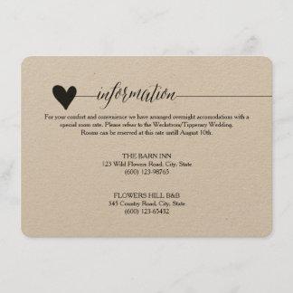 Rustic Kraft Wedding enclosure, heart calligraphy Enclosure Card
