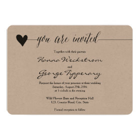 Rustic Kraft Wedding invite, heart calligraphy Invitation