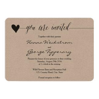 Rustic Kraft Wedding invite, heart calligraphy Invitation