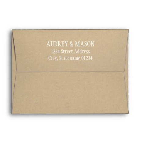 Rustic Kraft Wedding White Return Address Mailing Envelope